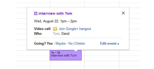 Google Agenda : Hangouts