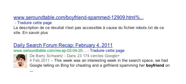 Google : Description de page bloquée par le fichier robots.txt