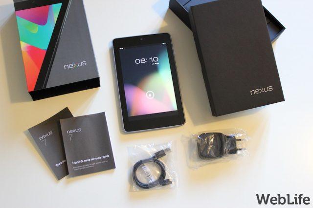 Google Nexus 7 : Tablette, boîte & accessoires