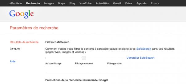 Google : Paramètres de recherche du compte sauvegardés