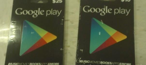 Google Play : Cartes cadeaux prépayées de 10$, 25$ & 50$