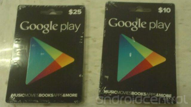 Google Play : Cartes cadeaux prépayées