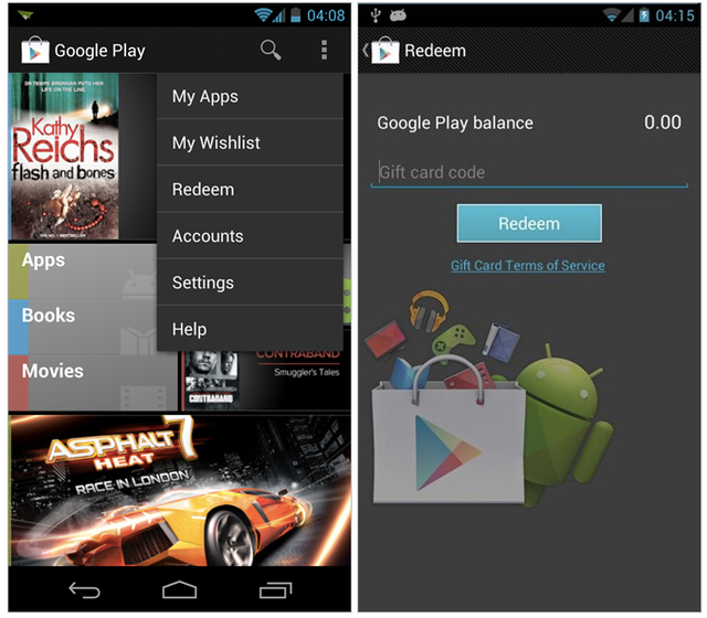 Google Play : Codes de réduction et Wishlist