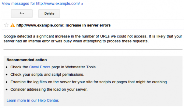 Google Webmaster Tools : Alertes de crawl - Pages