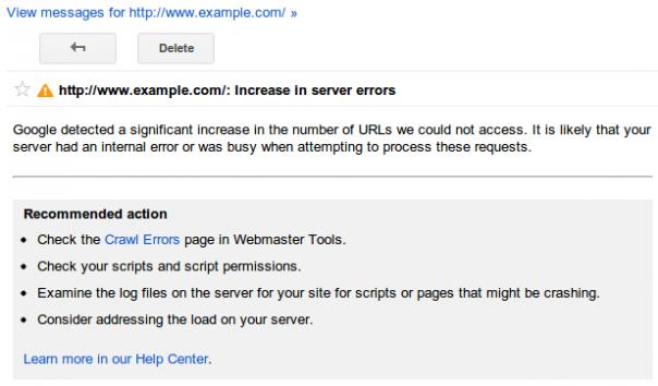Google Webmaster Tools : Alertes de crawl - Pages