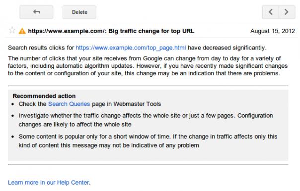 Google Webmaster Tools : Alertes de requêtes de recherche