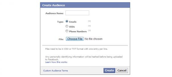 Facebook : Ciblage par email, ID & numéro de téléphone