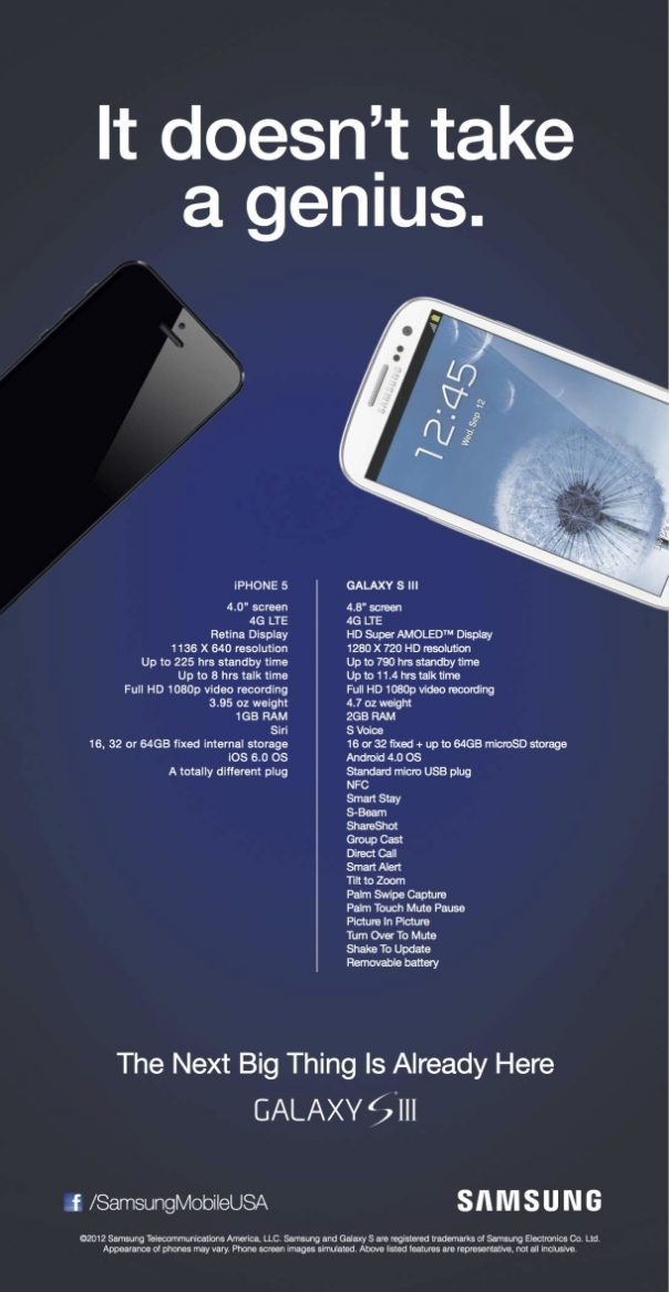 Samsung : Publicité anti iPhone 5