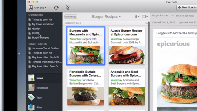 Evernote 5 : UI de l'application OS X