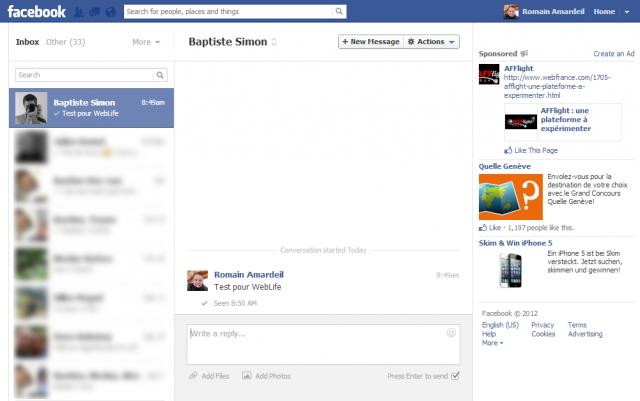 Facebook : Messsagerie