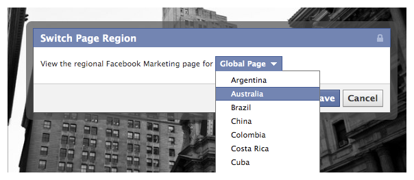 Facebook : Pages globales