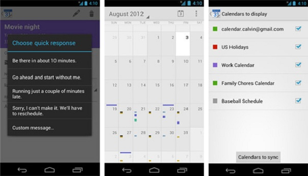 Android : Application Google Calendrier