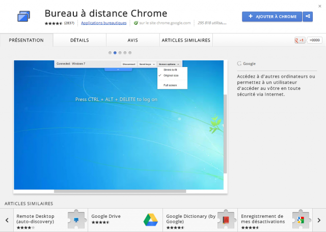 Google Chrome : Bureau à distance