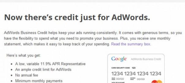 Google Adwords : Une carte de crédit pour les petites entreprises