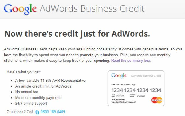 Google Adwords : Cartes de crédit