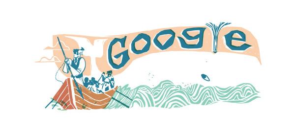Google : Herman Melville & Moby-Dick en doodle