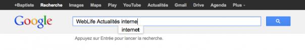 Google Instant : Suggestions avec mot clé supplémentaire