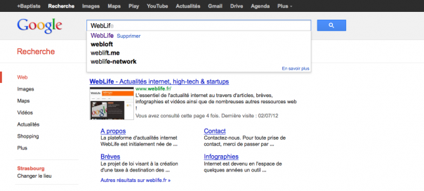 Google Instant : Suggestions issues de sites internet