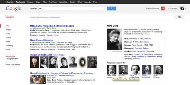 Google Knowledge Graph : Liens avec recherches associées