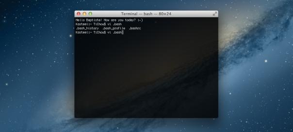OS X : Terminal personnalisé avec le fichier .bashrc