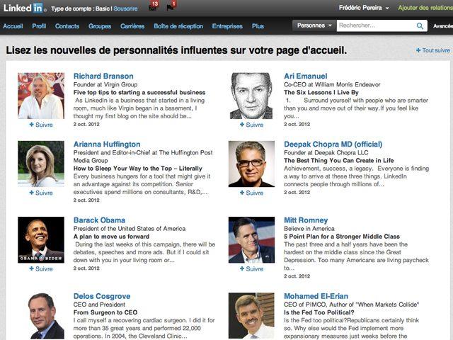 LinkedIn : Suivre une personnalité