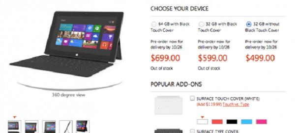 Microsoft Surface : Disponible à 499 dollars, 599 dollars avec clavier