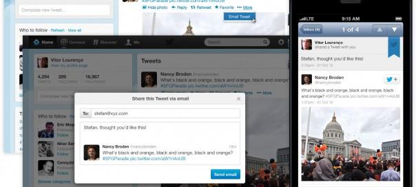 Twitter : Partage des tweets par email
