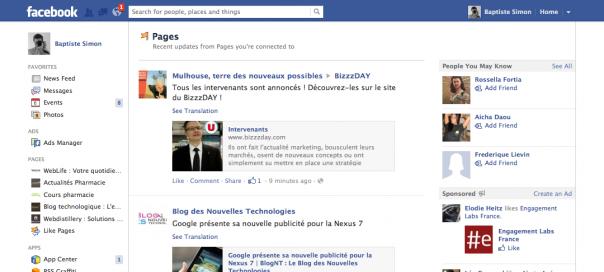 Facebook : Activités des Pages dans un flux dédié