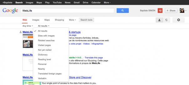 Google : Options de recherche en tête des résultats