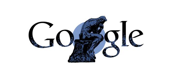Google : Auguste Rodin, Le Penseur du sculpteur en doodle