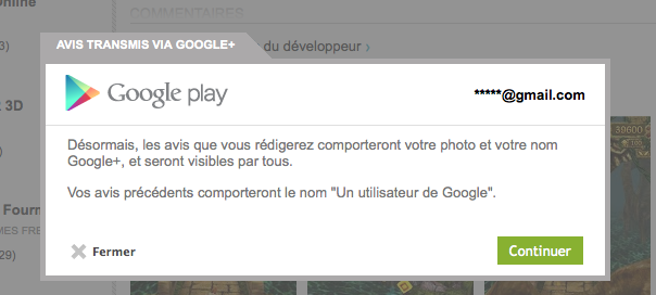 Google Play : Commenter avec son profil Google+