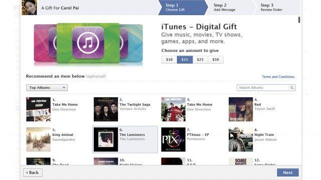 Facebook : Envoi de crédits iTunes