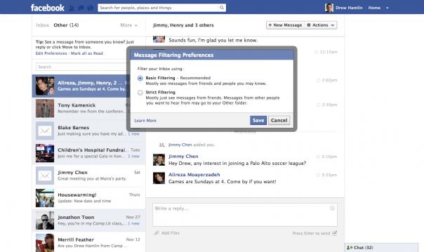 Facebook : Filtres des messages privés