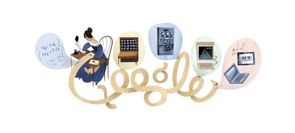 Google : Ada Lovelace et le premier algorithme en doodle