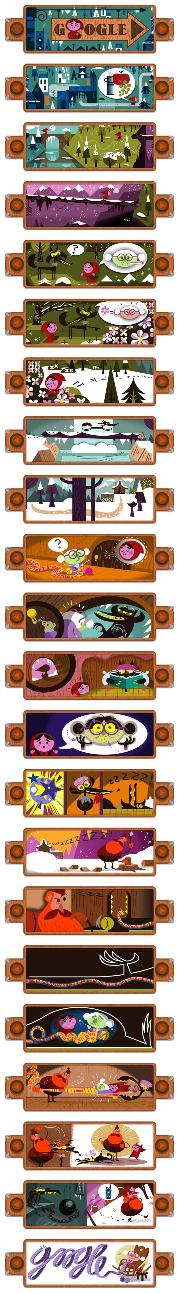 Google : Doodle Petit chaperon rouge de Grimm