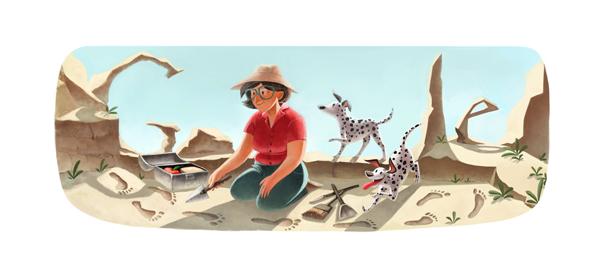 Google : Mary Leakey et les traces d'hominidés bipèdes en doodle