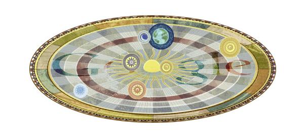 Google : Nicolas Copernic & l'héliocentrisme en doodle