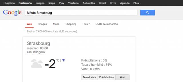 Google : OneBox météo dans les SERPS