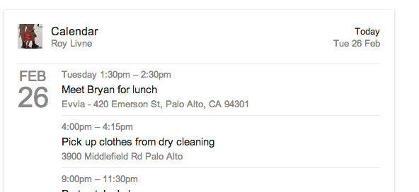 Google Search Field : Recherche dans votre calendrier
