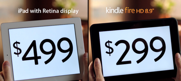 Amazon : Publicité Kindle Fire HD Vs iPad Retina