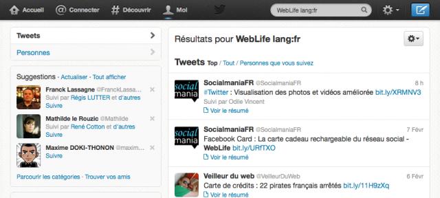 Twitter : Recherche