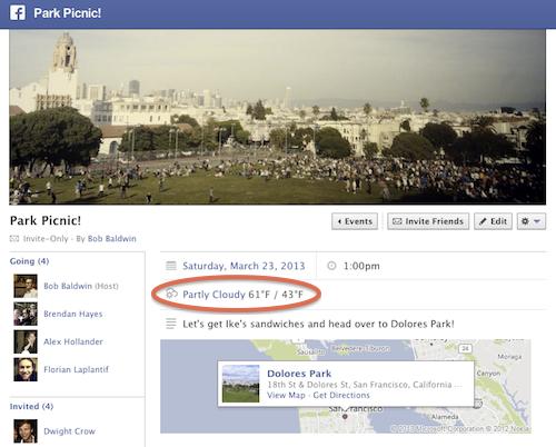 Facebook Evénement : Prévision méto
