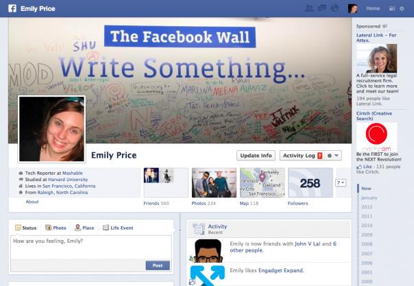 Facebook : Timeline actuelle