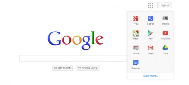 Google : Le menu de navigation remplace la barre noire