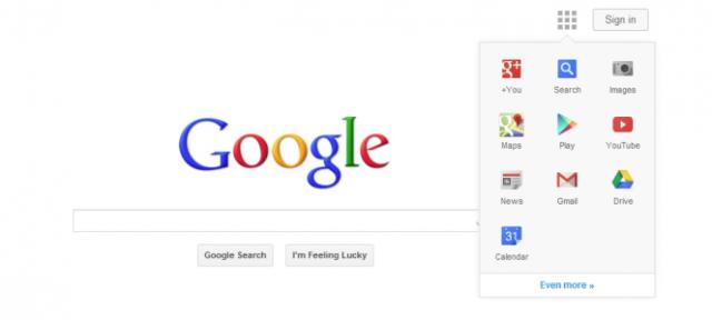 Google : Barre de navigation