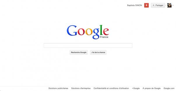 Google : Page d'accueil - Barre de navigation supprimée