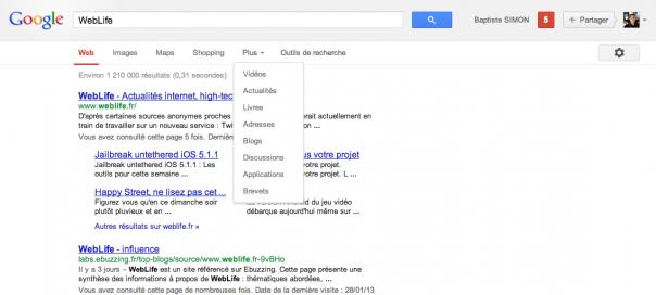 Google : Disparition de la barre de navigation noire