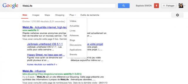 Google : SERPS - Barre de navigation supprimée