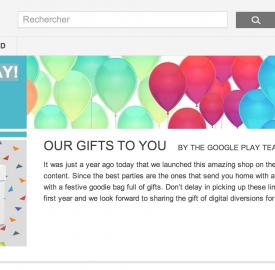 Google Play : Des réductions pour son anniversaire