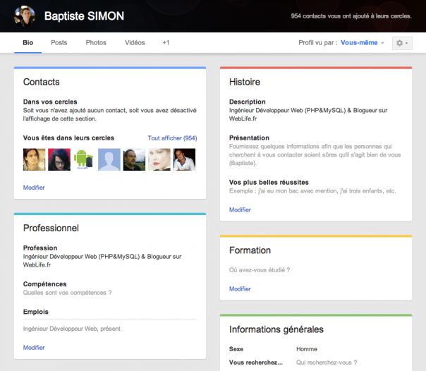 Google+ : Nouvelle interface